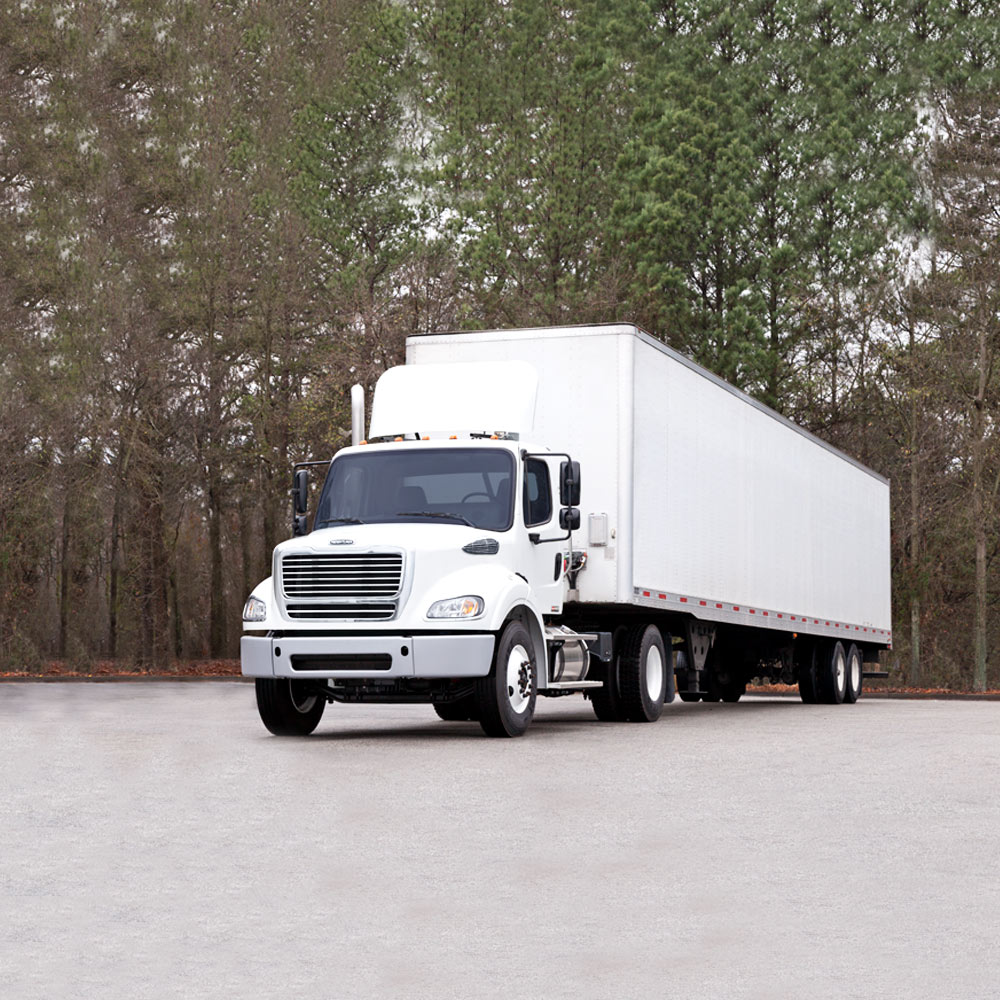 Large White Freightliner Cascadia
