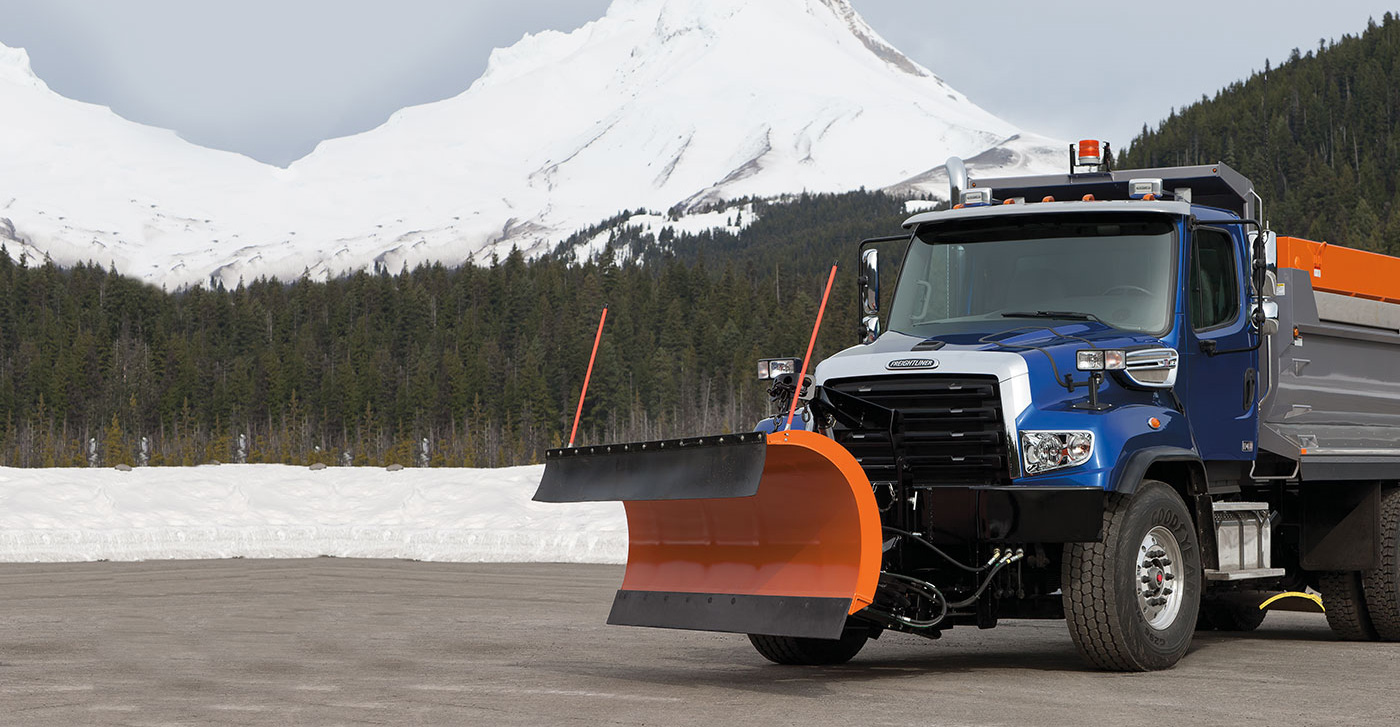 Freightliner Plow with Snowy Mountains
