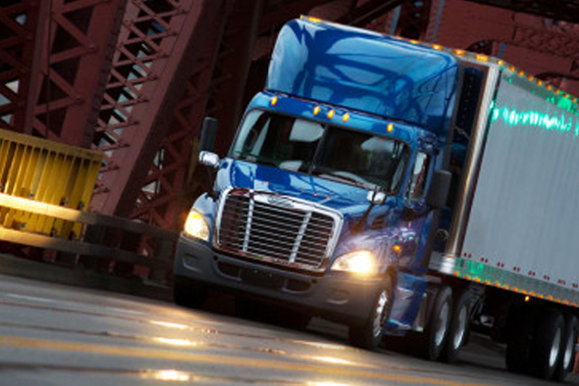 Blue Freightliner at Dusk